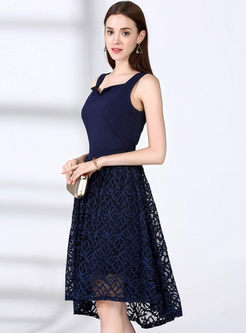 Sexy Pure Color Hollow-out Splicing V-neck Sleeveless Skater Dress