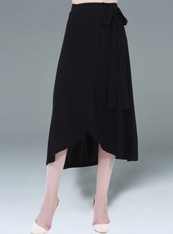 Casual Knitted Bowknot Slim Asymmetrical Skirt