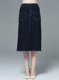 Fashionable Casual Fringed Slim Skirt