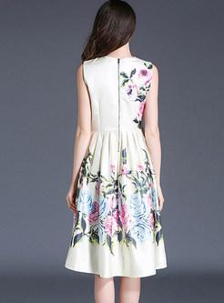 Elegant Floral Print Gathered Waist Sleeveless Skater Dress