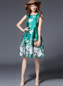 Elegant Floral Print Sleeveless Skater Dress