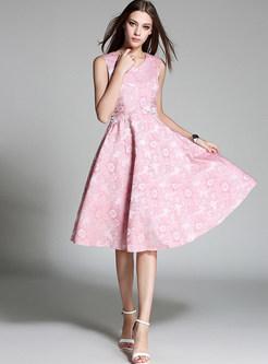 Brief Jacquard Weave Gathered Waist Sleeveless Skater Dress
