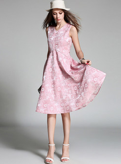 Jacquard Gathered Waisted Sleeveless Skater Dress