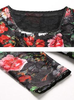 Lace Floral Print Square Neck Three Quarters Sleeve Maxi Dress