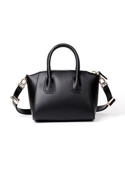 Classic Brief Zipper Pocket Cowhide Crosbody & Top Handle Bag