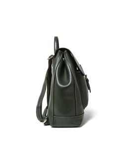 Vintage Buckle Cowhide Leather Backpack