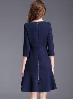 Casual Pure Color O-neck Three Quarter Sleeve A-line Skater Dress