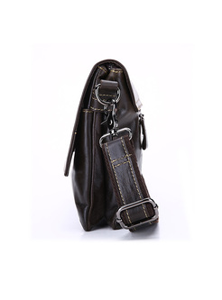 Brief Zipper Pocket Leather Crossbody Bag