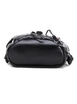 Retro Buckle Closure Genuine Leather Backpack