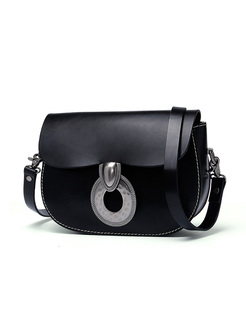 Cowhide Leather Clasp Lock Crossbody Bag