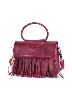 Ethnic Leather-tasseled Covered Closure Crossbody Bag