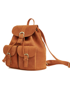 Casual Drawstring Closure Leather Backpack
