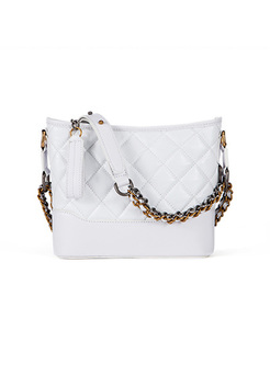 Casual Color-blocked Chain Tote Bag