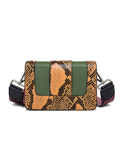 Street Color-blocked Snake-Pattern Crossbody Bag