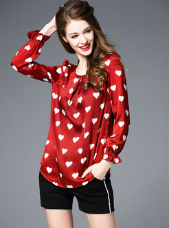 Loose Heart Print Puff Sleeve Blouse