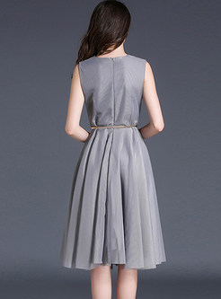 Nail Bead Mesh Wrinkle Sleeveless Skater Dress