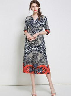 Ethnic Silk Floral Print Elastic Waist Three Quarters Sleeve Skater Dress
