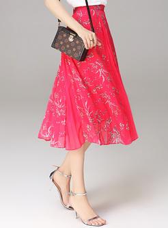Brief Print Silk High Waist Skirt
