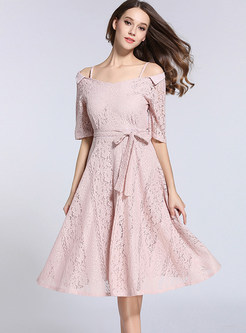 Pure Color Lace Hollow Out Slash Neck Skater Dress