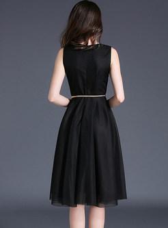 Nail Bead Mesh Wrinkle Sleeveless Skater Dress