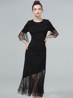 Black O-neck Gauze Stitched Half Sleeve Dress