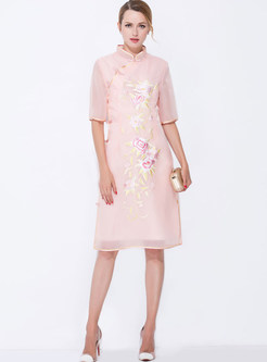 Ethnic Mesh Embroidered Slim Stand Collar Half Sleeve Skater Dress