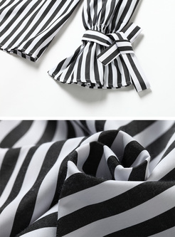 Sexy Slash Neck Striped Blouse
