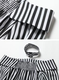 Off Shoulder Long Sleeve Striped Blouse