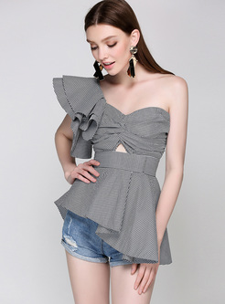 Sexy One Shoulder Bandeau Neck Blouse
