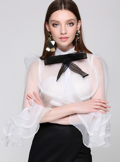 Sexy Perspective Falbala Sleeve Blouse