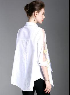 Work Print Turn-down Collar Three Quarter Sleeve Blouse