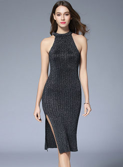 Sexy Off Shoulder Sleeveless Open Fork Sheath Knitted Dress