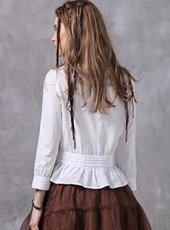 Vintage Cotton Hollow Out White Blouse