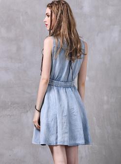 Stylish Elastic Waist Sleeveless Denim Skater Dress