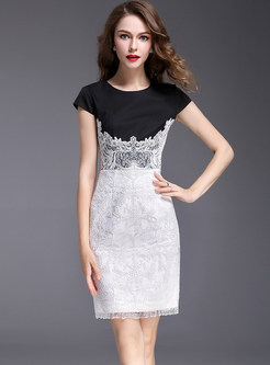 Lace Hit Color Embroidered Bodycon Dress