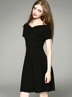Black V-neck Waist Big Hem Skater Dress