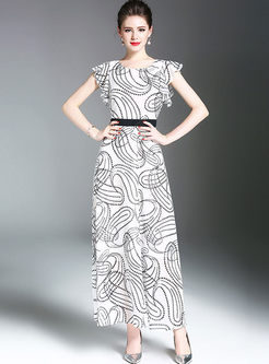 Fashionable Print Falbala Accept Waist Slim Maxi Dress