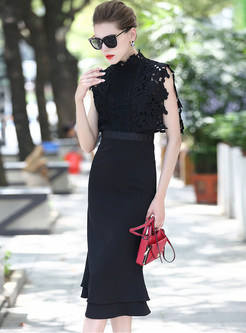 Sexy Lace High Waist Black Bodycon Dress