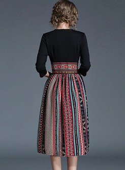 Vintage Hit Color Embroidered Chiffon Skater Dress