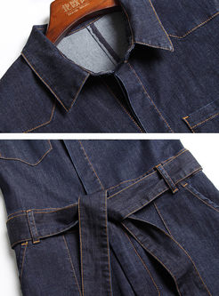 Brief Turn-down Collar Short Sleeve Pocket Belted Denim Jumpsuits