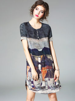 Brief Print O-neck Short Sleeve Loose Shift Dress