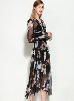09cfb43224fe ... Chiffon Dog Design Print Long Sleeve Skater Dress ...