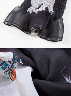 444439d1fc57 ... Chiffon Dog Design Print Long Sleeve Skater Dress