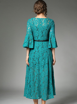 Elegant Lace Hollow Flare Sleeve Maxi Dress