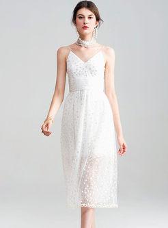 Sexy Gauze Lace Sequins V-neck Skater Dress