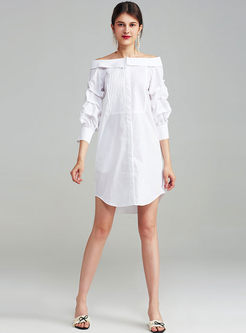 Sexy Slash Collar White Three Quarter Sleeve Skater Dress