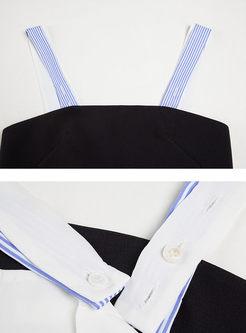 Sexy Striated Slash Collar Long Sleeve Blouse