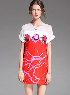 Stitching Print Short Sleeve Bodycon Dress