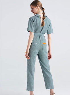 Work Case Grain Turn-down Collar Belted Jumpsuits