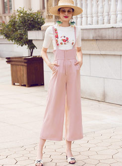 Work Pure Color Straight High Waist Overalls